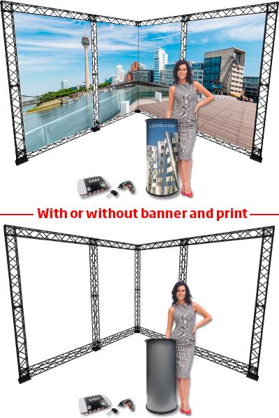 Neuheit: CROWN 10x10 – 3x3 Meter L-Stand inkl. Counter und Ixo…