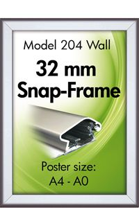 Alu Snap-Frame, Wand, 32 mm Profil
