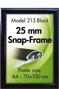 Alu Snap-Frame Wand, 25 mm, Schwarz
