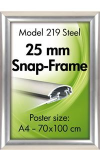 Alu Snap-Frame, Wand, 25 mm, stainless steel look