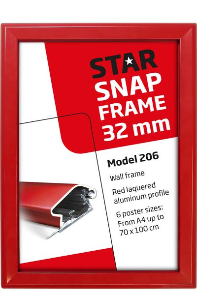Alu Snap-Frame, Wand, 32 mm Profil - rot