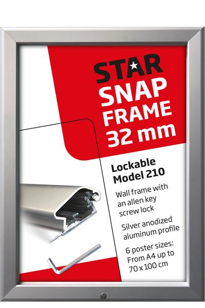 Lockable Snap-Frame, Wand, 32 mm Profil