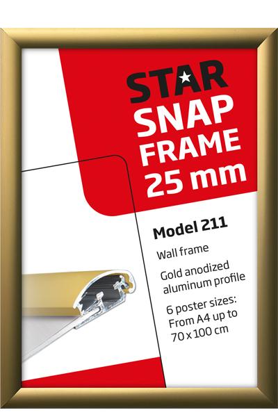 Alu Snap-Frame Wand, 25 mm, Goldeloxiert - matt