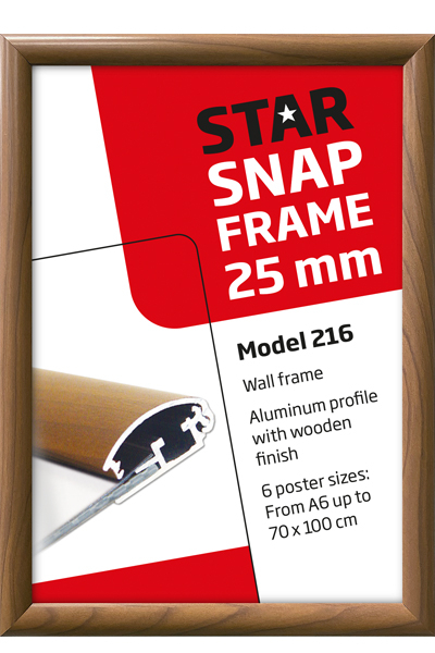 Alu Snap-FrameWand, 25 mm, holzlook