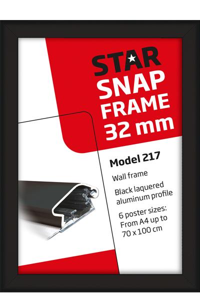 Alu Snap-Frame, wand, 32 mm - schwarz