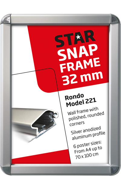 Alu Snap-Frame. Rondo. Wand. 32 mm. Silberanodiziert