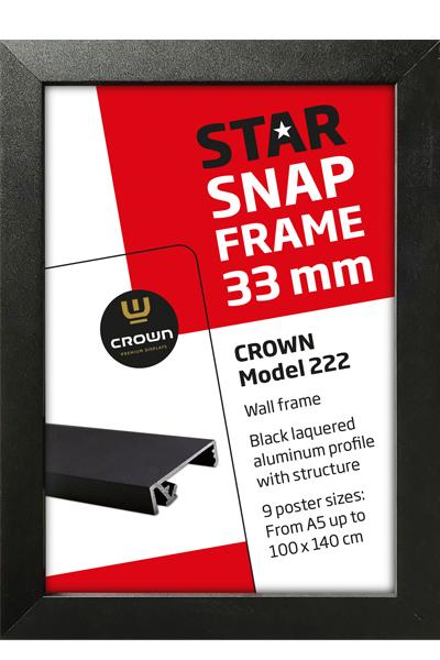 CROWN Snap-Frame,schwarz, Wand, 33 mm