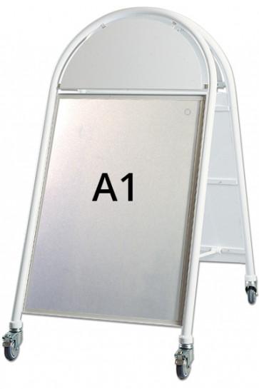 NEW GOTIK LUXUS Kundenstopper m/Rollen 32mm A1 weiß