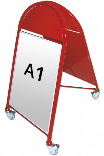 NEW GOTIK LUXUS Kundenstopper m/Rollen 32mm A1 rot
