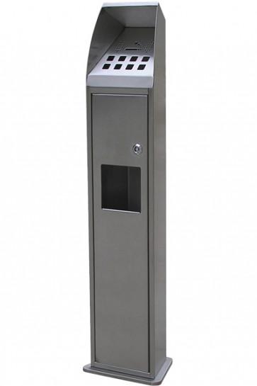 Cigarette waste tower brushed