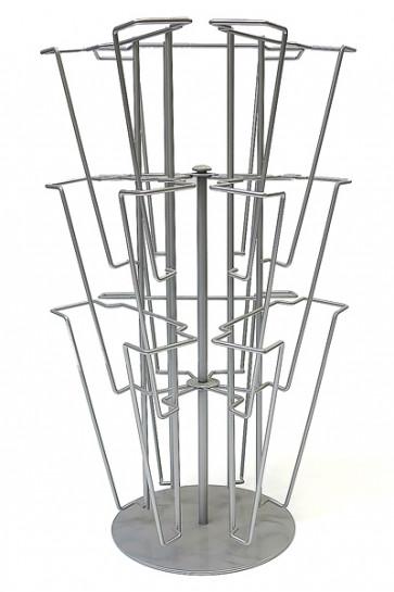 Wireholder Spin Table. Brochure Stand Tisch 9xA4 Silber