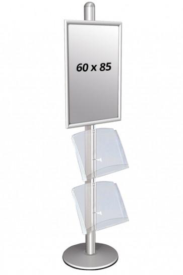MULTISTAND 3 Einseitig mit 2 acryl shelve 25mm 1 x 60 x 85 cm Alu