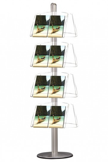 MULTISTAND 8 Doppelseitig 4 x acryl shelve Alu