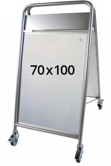EXPO SIGN LUX Kundenstopper m/Rä+OT 70x100cm Silber