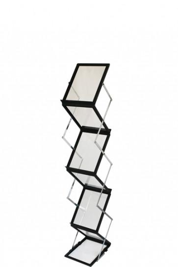 FLEX BROCHURE STAND schwarz, 6 x A5 m/Koffer