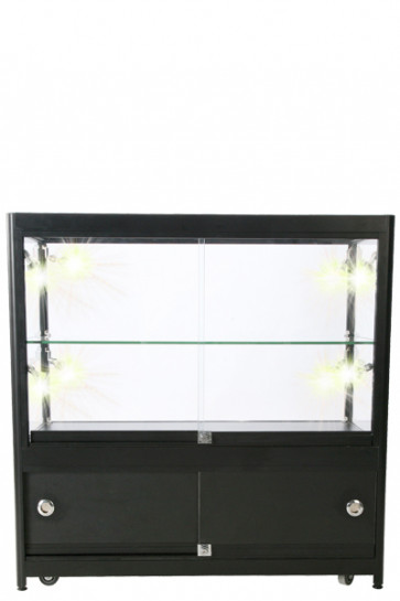Showcase Counter, Duo, mit Schrank. Schwarz. LED