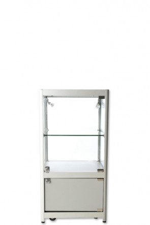 Showcase Counter, Solo, mit Schrank - Silber. LED