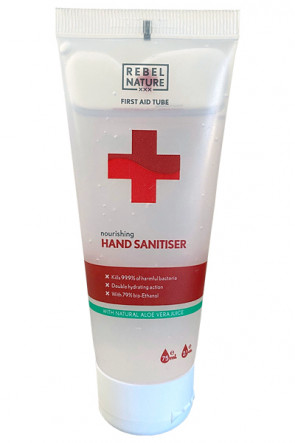 Rebel Nature 79% Hand Desinfektionsmittel mit Aloe Vera - 75ml Tube.