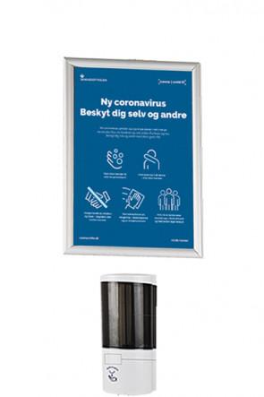 Hand Dispenser 500 ml und  Alu Snap Rahme  A4 -Wand Satz