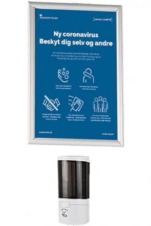Hand Dispenser 500 ml und  Alu Klapprahmen A3 -Wand Montage