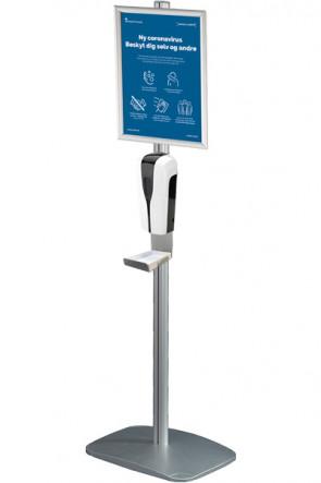Mini Multi Stand mit Desinfektionsmittelspender, Halter mit Tropfschale und Klapprahmen A4