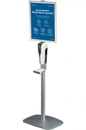 Mini Multi Stand mit Desinfektionsmittelspender, Halter mit Tropfschale und Klapprahmen A3