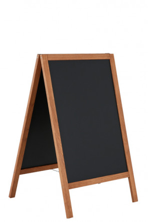 Wooden A-Board Dark with Steel Board 46x68cm - Dunkel gebeizte Buche