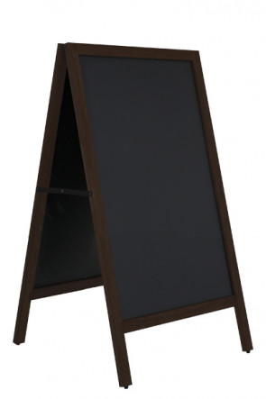 Wooden A-Board Black with Steel Board 59x78cm - Schwarz gebeizte Buche