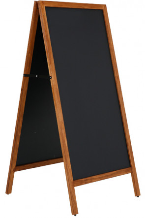 Wooden A-Board Tall with Steel Board 59x119cm - Dunkel gebeizte Buche