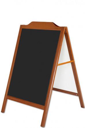 Kundenstopper aus Aluminium in Holzoptik 60x80cm mit schwarzer Tafel.