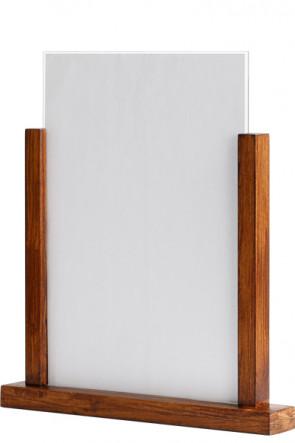 Wooden Menuholder, dunkel Holz, mit Acrylic Halter A4