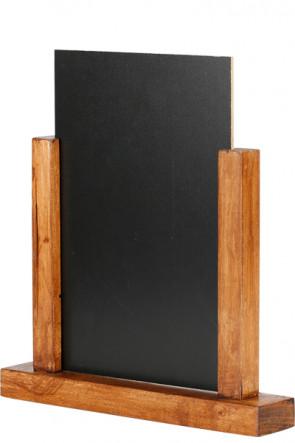 Wooden Menuholder Chalkboard, dunkel Holz, A5
