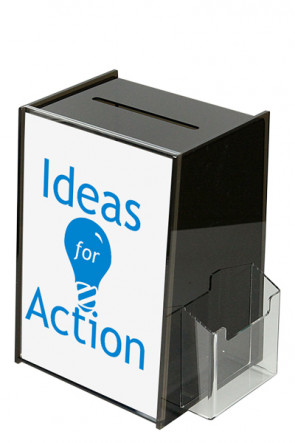 Tip Box Black with Info holder A4 + M65 brochure holder