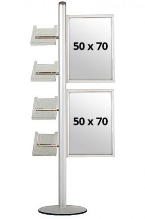 MULTISTAND 18 Einseitig mit 2x(50x70cm) Slide-in + 4xA4 Ablagen