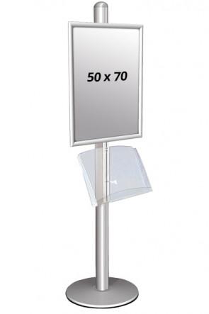 MULTISTAND1 Einseitig mit acrylshelve 25mm 1x  50x70 Alu