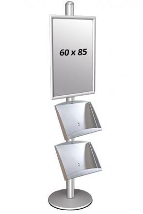 MULTISTAND 3 Einseitig mit 2 steel shelve 25mm 1 x 60x85 cm Alu