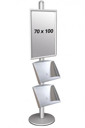 MULTISTAND 3 Einseitig mit 2 steel shelve 25mm 1 x 70 x 100 cm Alu