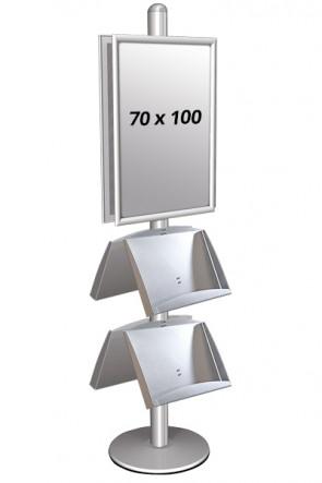 MULTISTAND 4 Doppelseitig mit 2 steel shelve  25mm 2 x 70x100 cm Alu