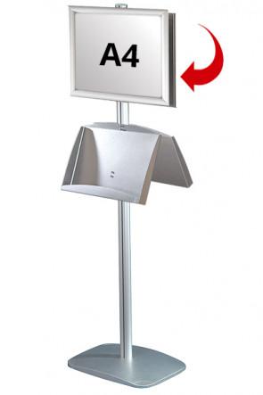 Mini Multistand 6 - Doppelseitig  A4 Snap Frame + A3 Prospekthalter aus Stahl