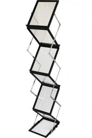 FLEX BROCHURE STAND Schwarz 6 x A4 mit Koffer