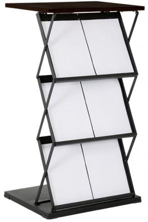 Flex Counter Double. Brochureholder 6xA4. Black. Schwarz mit schwarzer Platte.