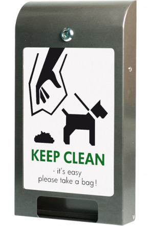 Beutelspender für Hundebeutel, A4 Info, Farbe Grau