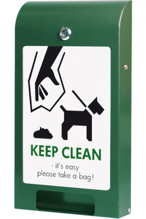 Beutelspender für Hundebeutel, A4 Info, Farbe Grün