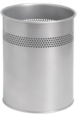 Papierkorb Modell Basic in silber, 15 Ltr.