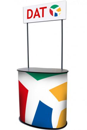 Panelcounter - Curved. Mit Rollen und Logo-Platte