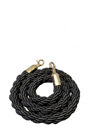 Crowd control rope,  Black.  - Gold fixing
