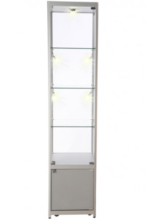 Showcase Tower, Solo, mit Schrank - Silber. LED
